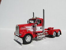 DCP 1/64 SCALE W-900 KENWORTH DAY CAB RED WITH WHITE STRIPE - TRACTOR ONLY