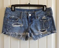 AEO American Eagle Womens Destructed Blue Jeans Shorts SZ 0 EXCELLENT