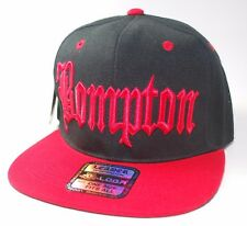 fcfd5cb8a06 BOMPTON Snapback 3D Embroidery Hat Baseball Cap BLACK RED NWA CPT Flat NEW!