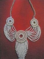 Glamorous Cream Gold Beaded Necklace Egyptian Style Costume Jewellery Vintage