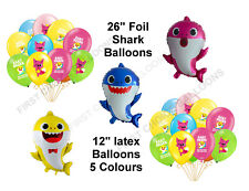 "BABY SHARK THEMED 12"" LATEX BALLOON DECORATIONS - SAME DAY DISPATCH - UK SELLER"