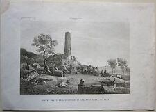 1845 AVANZI TEMPIO D'ERCOLE IN GIRGENTI Zuccagni Orlandini acquaforte Agrigento
