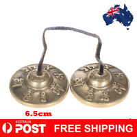 2.6in/6.5cm Handcrafted Tibetan Meditation Tingsha Cymbal Bell & Lucky Symbols