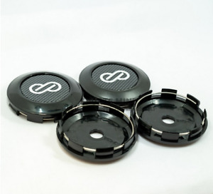 4x77mm ENKEI Black Carbon Car Wheel Center Cap Emblem Sticker Cap Auto Styling