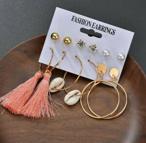 Pink gold tassel Sea Shell hoop drop dangle Earrings set