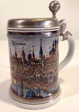Wieninger & Erbo Pewter Lidded German Beer Stein Munich Monachium Mug
