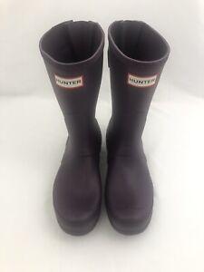 Women's Hunter Original Short Back Adjustable Rain Boots Size 5 Purple