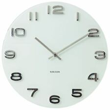 Karlsson 35cm Vintage Glass With 3d Numbers Wall Clock Round - White