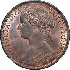 Great Britain 1870 Victoria Bronze Penny NGC MS-63 Red Brown SCARCE DATE!!
