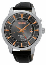 NEW Seiko SUN063 Kinetic GMT Stainless Steel Black Leather Strap Men's Watch