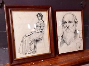 Genuine Pair 19th Century China Drawing Painting,Portrait,Feature Wall,Old Frame