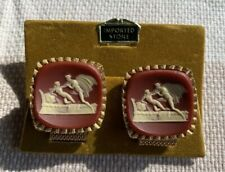 Reddish Brown White Cupid Lovers Gold Wrap around Cufflinks   Vintage Erotica