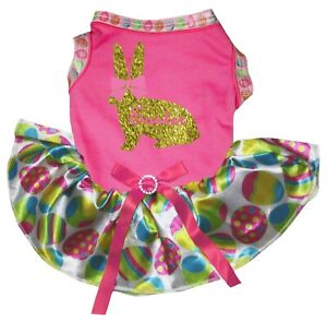 Easter Pink Bow Gold Rabbit Pink Top Easter Egg Tutu Pet Dog Dress Puppy Clothes