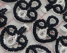 "6 pairs Black & silver beaded bullion frog appliques closure toggle 1 5/8"" India"