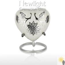 White Lotus Flower (3inch Heart), Keepsake Urns, Heart Keepsakes, Mini Urns