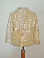 1950's Ivory Iridescent Sequin Sweater Sm