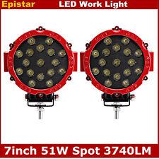 Round 51W LED Work light spotlights for truck tractor hummer atv moto boat Red