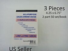 3X-Sales Order Book Receipt Invoice Duplicate 50 sets Forms Carbon US Seller