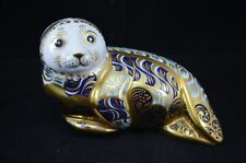 ROYAL CROWN DERBY LTD. ED  HARBOUR SEAL PAPERWEIGHT GOLD STOPPER
