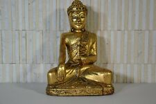 Original Buddha Antik Indien Skulptur sitzender Buddha Holz geschnitzt RARE