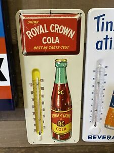 "Vintage RC Royal Crown Cola Metal Advertising Soda Thermometer Sign 13.5""x6"" NOS"