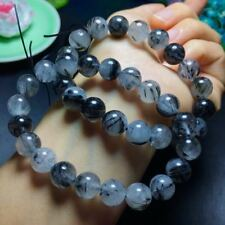 10mm Natural Black Rutilated Quartz Round Beads Fashion Stretch Bracelet Gift