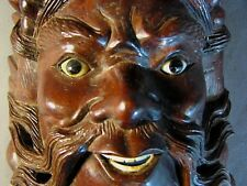 Antique Asian Carved Wood Mahogany Rosewood Bone Teeth Glass Eyes Vintage Mask