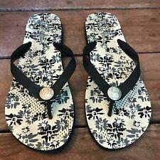 Cole Haan Women's Floral Black Thong Flip Flop Sandals Size 10