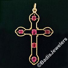 Antique 18k Yellow Gold 5.17ctw GIA Oval NO HEAT Burma Ruby Large Cross Pendant