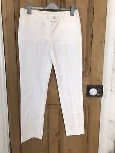 White Moschino Trousers Size 10 It 42 Silk Cotton Mix Trousers Straight Leg