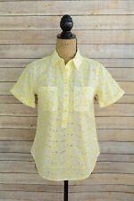 NWOT Merona - Yellow white eyelet COTTON short sleeve partial button shirt, S