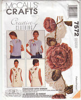 Ribbon Roses Embroidery Misses Vest McCalls Sewing Pattern 7572 Uncut Sizes 8-22