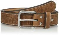 Nocona Mens Floral Embossed Western Leather Belt