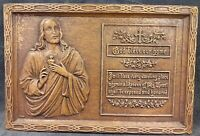Antique Sacred Heart Of Jesus God Bless Our Home Hand Carved Barnwood Plaque