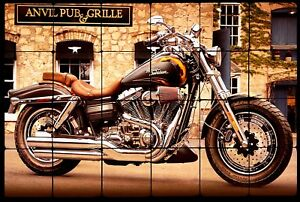 "Motorcycle Still Life Tumbled Marble Tile Wall Mural Backsplash 24"" x 16"""