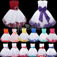 Petals Lace Baby Princess Bridesmaid Flower Girl Dresses Wedding Formal Party