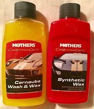 2 Bottles Mothers 3.4 Oz Carnauba Wash / Wax & Synthetic Wax Polish Sample Clean
