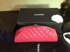 Authentic Chanel Pink Patent Timeless Classic Kiss Lock Clutch Bag