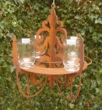 chandelier décoration de jardin Lustre pour lanternes pots plantes métal inox