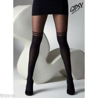 Black Mock Over Knee Double Stripe Suspender Tights One Size