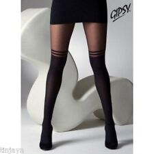 Black Plus Size XL Mock Over Knee Double Stripe Suspender Tights