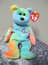 Rare ty Beanie Babie Peace Bear 1996 PVC Pellet Fareham No # on Tush Tag
