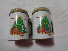 Christmas Tin Salt & Pepper Shakers - Christass Tree - With Handle