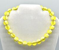 Vintage & Collectible Plastics Yellow w/Clear Bead Choker Necklace w/Extender