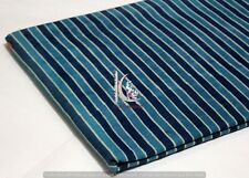 Indian Hand Block Print Vegetable Color Blue Striped Cotton Sewing Craft Fabric