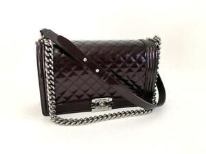 Authentic Chanel Le Boy Patent Leather Medium Crossbody Messenger Bag SHW