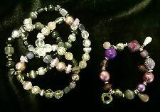 5x Damen Armband Bettelarmband Schmuck Herz Perle Stein rosa lila schwarz silber