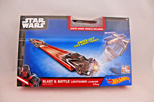 HOT WHEELS BLAST BATTLE LIGHT SABER LAUNCHER STAR WARS Darth Vader Car