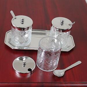 Edel Marmeladen Gläser Menage Set Konfitüre 3 Glasdosen mit Tablett und Löffel