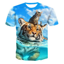 Women Men T-Shirt 3D Print Funny Tiger Cat Swiming Short Sleeve Summer Tee Tops